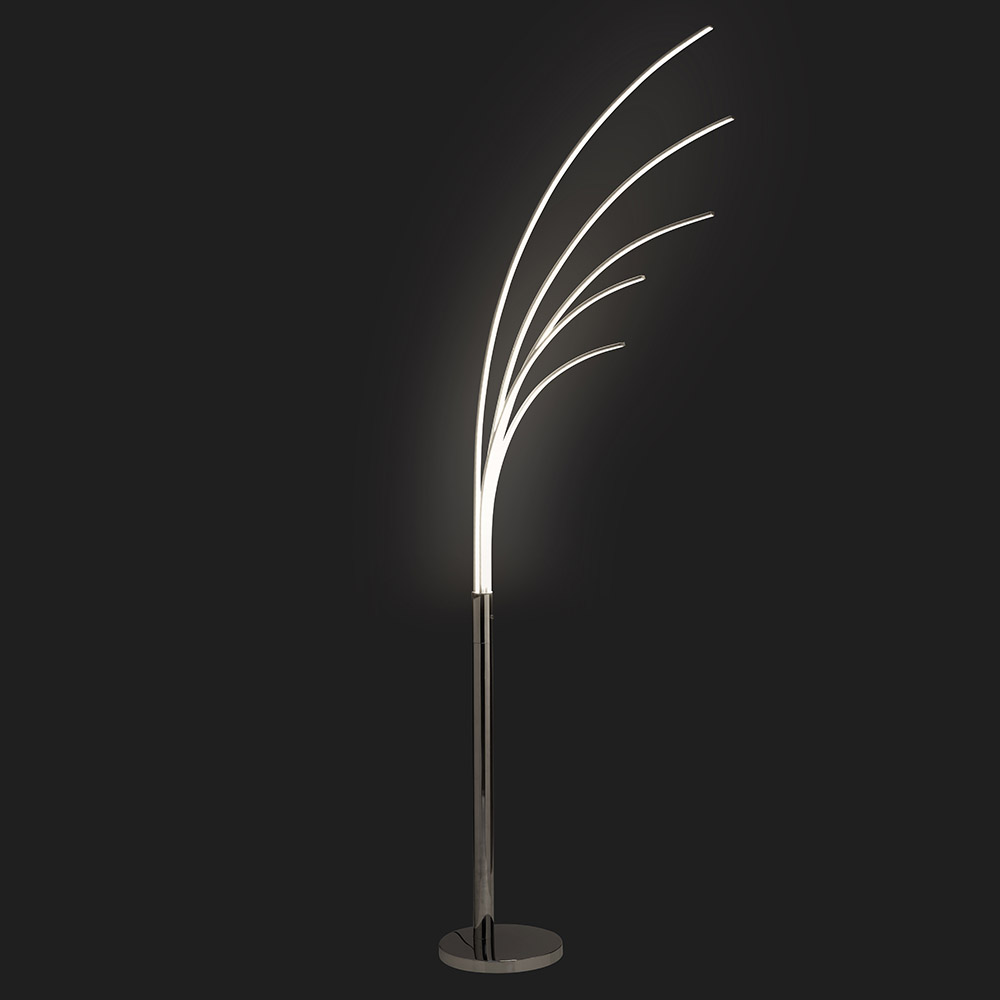 K LIVING Palm LED 5 Light Arch Chrome Floor Lamp